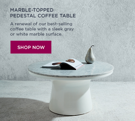 Mable-Topped Pedestal Coffee Table