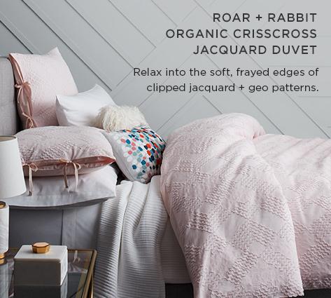 Roar + Rabbit Organic Crisscross Jacquard Duvet - Relax Into The Soft, Frayed Edges Of Clipped Jacquard + Geo Patterns.