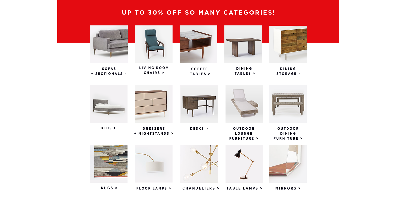 Up To 30% Off So Many Categories!